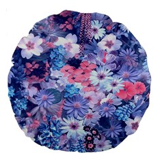 Spring Flowers Blue 18  Premium Round Cushion  by ImpressiveMoments