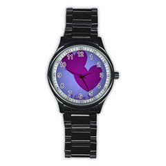 I Love You Sport Metal Watch (black) by WonderfulDreamPicture