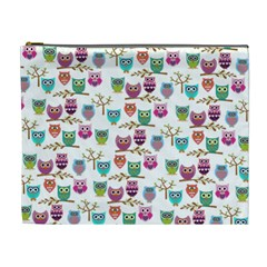 Happy Owls Cosmetic Bag (xl) by Ancello