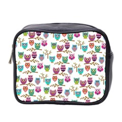 Happy Owls Mini Travel Toiletry Bag (two Sides) by Ancello
