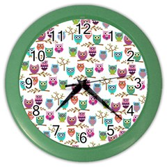 Happy Owls Wall Clock (Color)