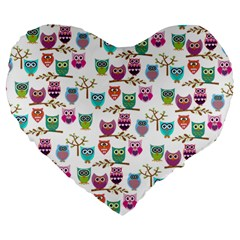 Happy Owls 19  Premium Heart Shape Cushion by Ancello
