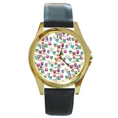 Happy Owls Round Leather Watch (gold Rim)  by Ancello