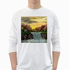 Brentons Waterfall   Ave Hurley   Artrave   Mens' Long Sleeve T Shirt (white) by ArtRave2