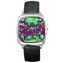 Abstract Square Leather Watch by Siebenhuehner
