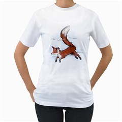 Riding the great red fox Womens  T-shirt (White) by Contest1807839