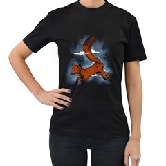 Riding the great red fox Womens' Two Sided T-shirt (Black) by Contest1807839