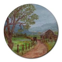 amish Buggy Going Home  By Ave Hurley Of Artrevu   Round Mousepad by ArtRave2