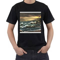 bridget s Lighthouse   By Ave Hurley Of Artrevu   Men s T Shirt (black) (two Sided) by ArtRave2