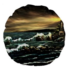 bridget s Lighthouse   By Ave Hurley Of Artrevu   Large 18  Premium Round Cushion  by ArtRave2