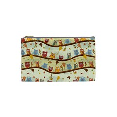 Autumn Owls Cosmetic Bag (small) by Ancello