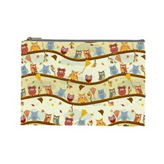 Autumn Owls Cosmetic Bag (large) by Ancello