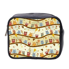 Autumn Owls Mini Travel Toiletry Bag (two Sides) by Ancello