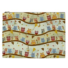 Autumn Owls Cosmetic Bag (xxl) by Ancello
