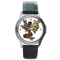 Faerie Nymph Fairy With Outreaching Hands Round Leather Watch (silver Rim) by goldenjackal