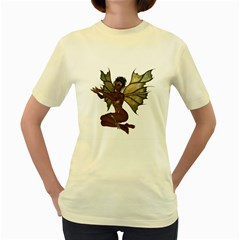 Faerie Nymph Fairy With Outreaching Hands  Womens  T Shirt (yellow) by goldenjackal