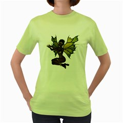 Faerie Nymph Fairy With Outreaching Hands Womens  T Shirt (green) by goldenjackal