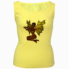 Faerie Nymph Fairy With Outreaching Hands Womens  Tank Top (yellow) by goldenjackal
