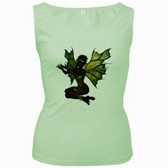 Faerie Nymph Fairy With Outreaching Hands Womens  Tank Top (green) by goldenjackal