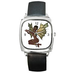 Faerie Nymph Fairy With Outreaching Hands Square Leather Watch by goldenjackal