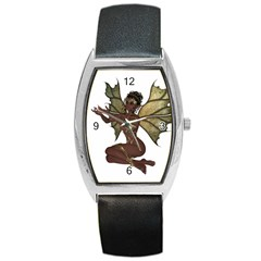 Faerie Nymph Fairy With Outreaching Hands Tonneau Leather Watch by goldenjackal