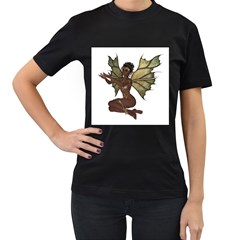 Faerie Nymph Fairy With Outreaching Hands Womens' Two Sided T Shirt (black) by goldenjackal