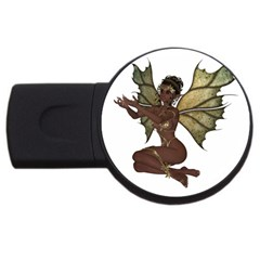 Faerie Nymph Fairy With Outreaching Hands 4gb Usb Flash Drive (round) by goldenjackal