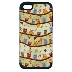 Autumn Owls Apple Iphone 5 Hardshell Case (pc+silicone) by Ancello