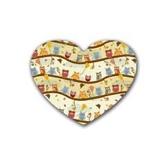 Autumn Owls Drink Coasters (heart)