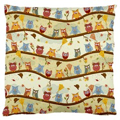 Autumn Owls Large Cushion Case (two Sided)  by Ancello