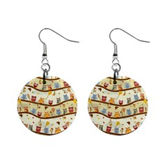Autumn Owls Mini Button Earrings by Ancello