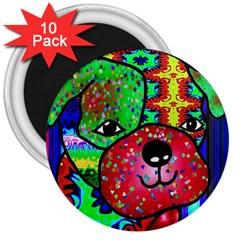 Pug 3  Button Magnet (10 Pack) by Siebenhuehner