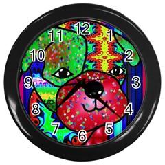 Pug Wall Clock (black) by Siebenhuehner