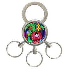 Pug 3 Ring Key Chain by Siebenhuehner