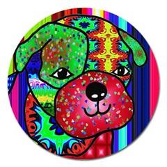 Pug Magnet 5  (round) by Siebenhuehner