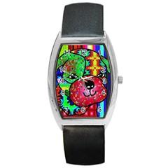 Pug Tonneau Leather Watch by Siebenhuehner