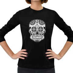 Sugar Skull Women s Long Sleeve Dark T Shirt by Ancello