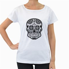 Sugar Skull Women s Loose Fit T Shirt (white) by Ancello