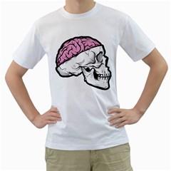 Skull & Brain Mens  T Shirt (white) by Contest1741741