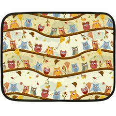 Autumn Owls Mini Fleece Blanket (single Sided) by Ancello