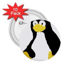 Primitive Linux Tux Penguin 2 25  Button (10 Pack) by youshidesign