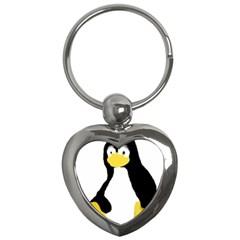 Primitive Linux Tux Penguin Key Chain (heart) by youshidesign
