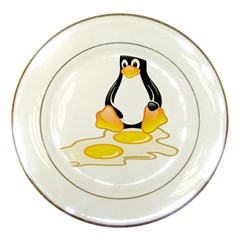 Linux Tux Penguin Birth Porcelain Display Plate by youshidesign