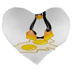 Linux Tux Penguin Birth 19  Premium Heart Shape Cushion by youshidesign