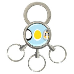 Linux Tux Penguin In The Egg 3 Ring Key Chain by youshidesign