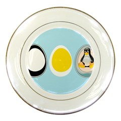 Linux Tux Penguin In The Egg Porcelain Display Plate by youshidesign