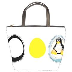LINUX TUX PENGUIN IN THE EGG Bucket Handbag