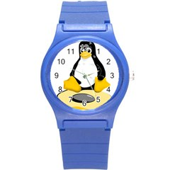 Linux Black Side Up Egg Plastic Sport Watch (small)
