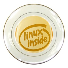 Linux Inside Egg Porcelain Display Plate by youshidesign