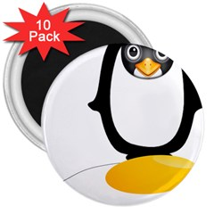 Linux Tux Pengion Oops 3  Button Magnet (10 Pack) by youshidesign